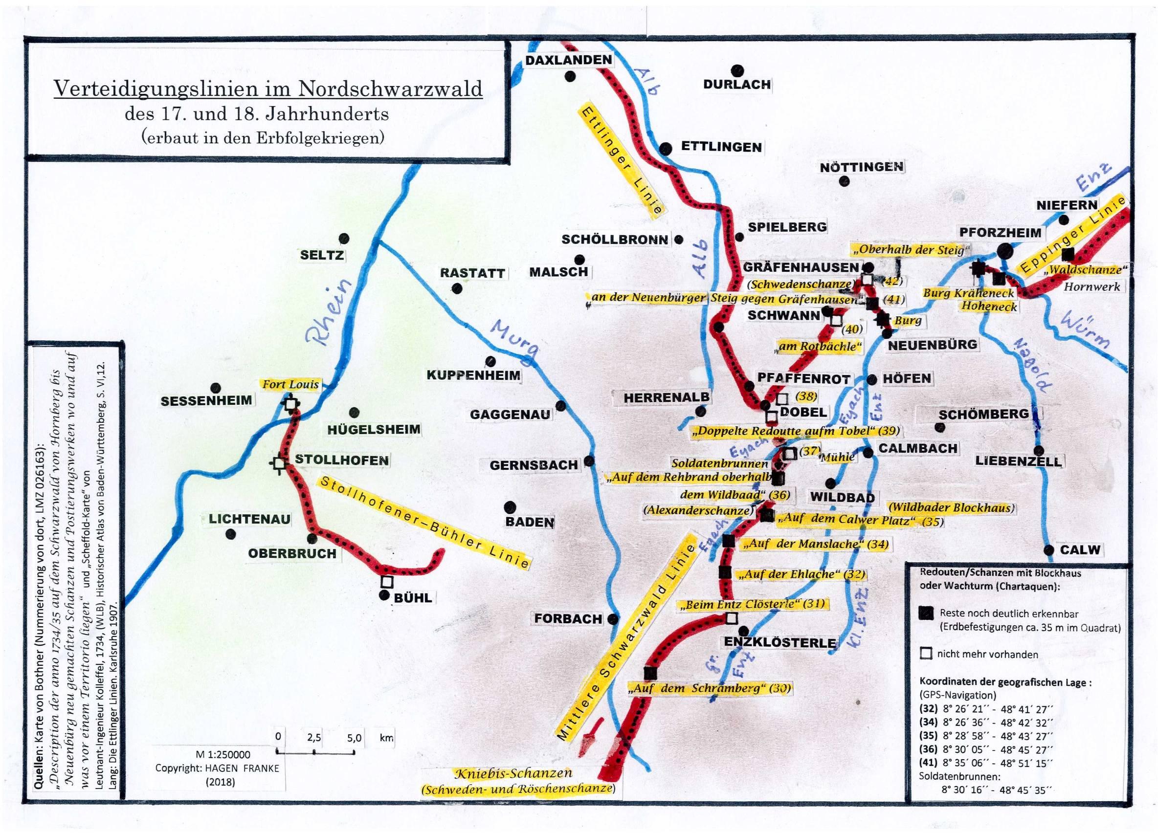 Schlachtfelder Des 2 Weltkriegs Karte.Verteidigungslinien Im Nordschwarzwald Erbfolgekriege